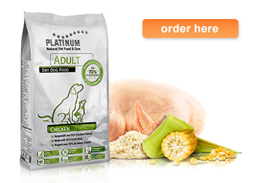 PLATINUM Adult Chicken dry dog food product information